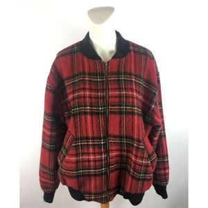 vintage USA Woolrich Plaid Wool Bomber Jacket